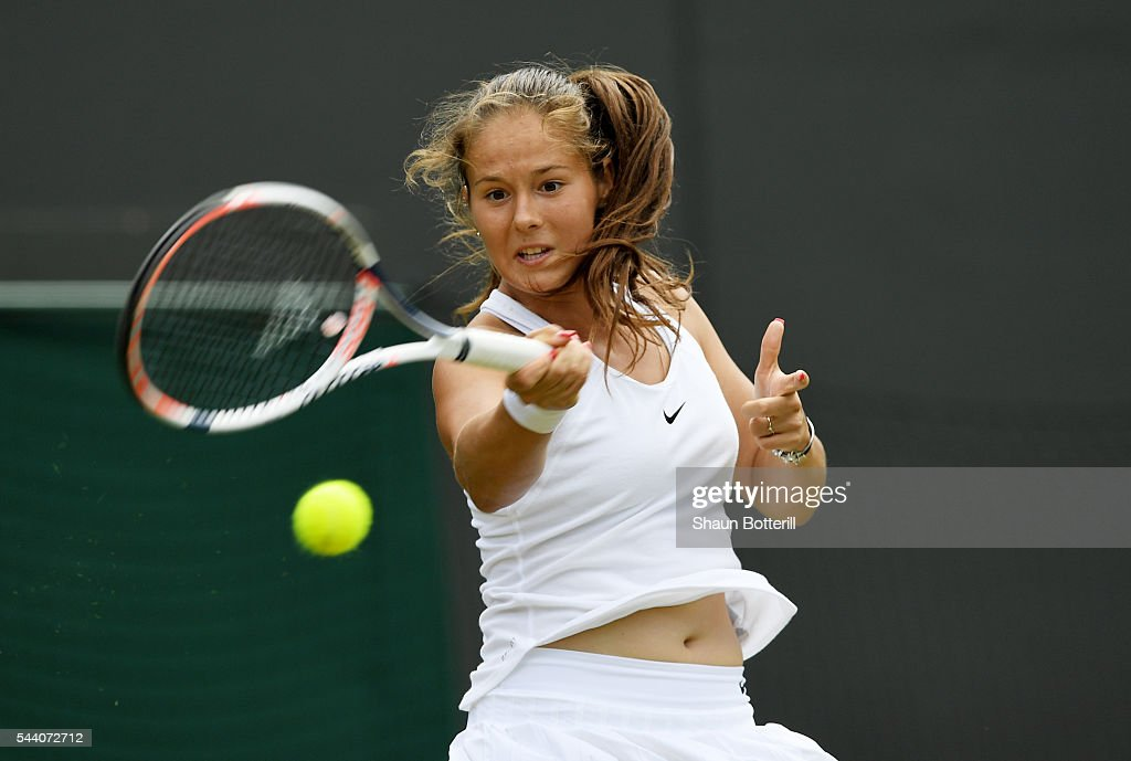 <a gi-track='captionPersonalityLinkClicked' href=/galleries/search?phrase=Daria+Kasatkina&family=editorial&specificpeople=10965238 ng-click='$event.stopPropagation()'>Daria Kasatkina</a> of Russia plays a forehand during the Ladies Singles third round match against Venus Williams of The United States on day five of the Wimbledon Lawn Tennis Championships at the All England Lawn Tennis and Croquet Club on July 1, 2016 in London, England.
