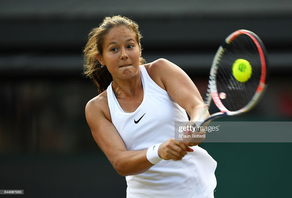 Daria Kasatkina of Russia plays a forehand during the Ladies Singles third round match against Venus Williams of The United States on day five of the Wimbledon Lawn Tennis Championships at the All England Lawn Tennis and Croquet Club on July 1, 2016 in London, England.
