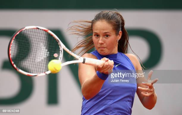 Daria Kasatkina of Russia plays a forehand during the ladies singles third round match against Simona Halep of Romania on day seven of the 2017...