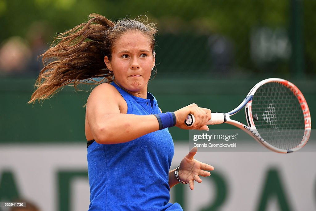 <a gi-track='captionPersonalityLinkClicked' href=/galleries/search?phrase=Daria+Kasatkina&family=editorial&specificpeople=10965238 ng-click='$event.stopPropagation()'>Daria Kasatkina</a> of Russia plays a forehand during the Women's Singles first round match against Anna-Lena Friedsam of Germany on day three of the 2016 French Open at Roland Garros on May 24, 2016 in Paris, France.