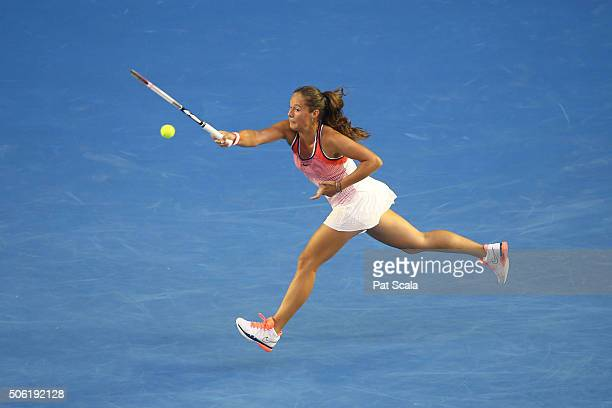 Daria Kasatkina of Russia plays a forehand in her third round match against Serena Williams of the United States during day five of the 2016...