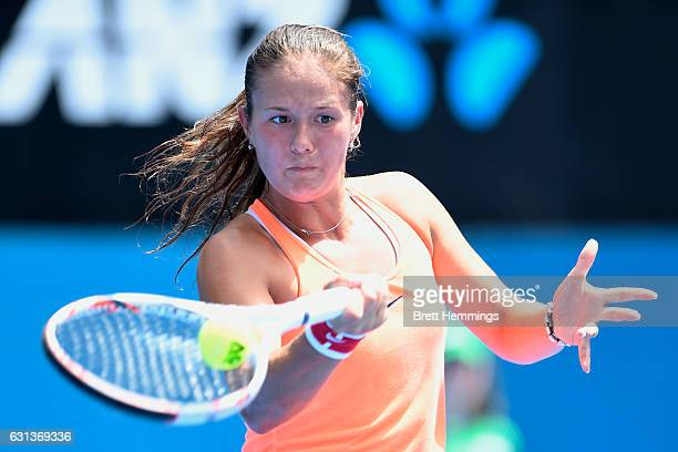 Daria Kasatkina of Russia plays a forehand shot in her second round match against Angelique Kerber of Germany during day three of the 2017 Sydney...