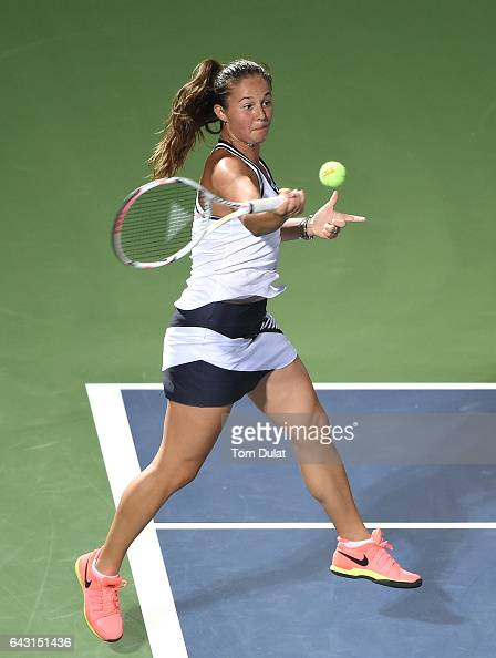 Daria Kasatkina of Russia plays forehand during her match against Caroline Wozniacki of Denmark on day two of the WTA Dubai Duty Free Tennis...