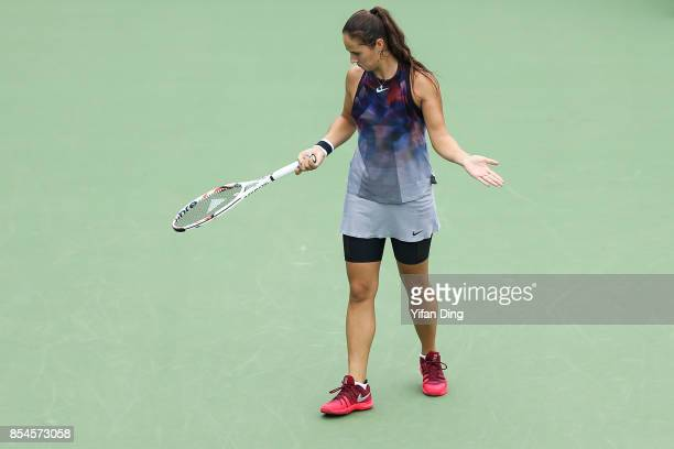 Daria Kasatkina of Russia reacts after losing a point during the third round Ladies Singles match against Ekaterina Makarova of Russia on Day 4 of...