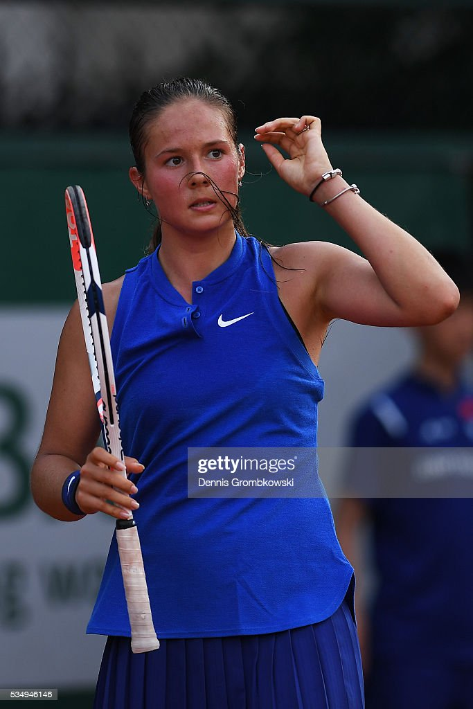 <a gi-track='captionPersonalityLinkClicked' href=/galleries/search?phrase=Daria+Kasatkina&family=editorial&specificpeople=10965238 ng-click='$event.stopPropagation()'>Daria Kasatkina</a> of Russia reacts during the Ladies Singles third round match against Kiki Bertens of Netherlands on day seven of the 2016 French Open at Roland Garros on May 28, 2016 in Paris, France.