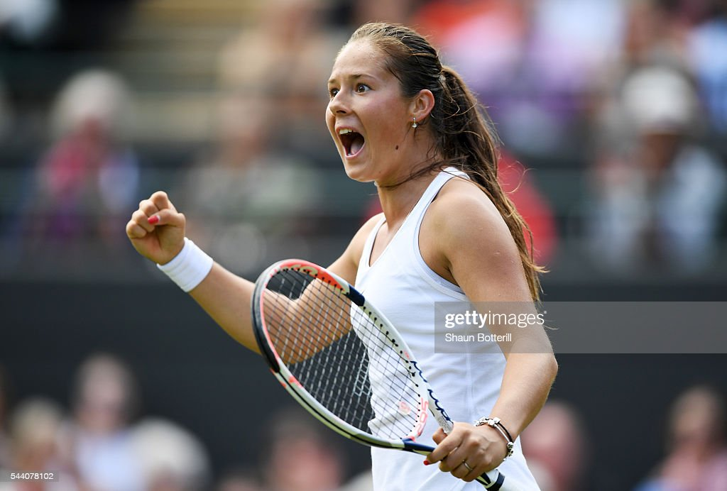 Daria Kasatkina of Russia reacts during the Ladies Singles third round match against Venus Williams of The United States on day five of the Wimbledon Lawn Tennis Championships at the All England Lawn Tennis and Croquet Club on July 1, 2016 in London, England.