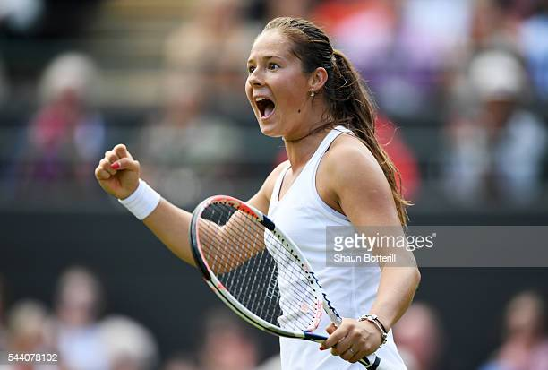 Daria Kasatkina of Russia reacts during the Ladies Singles third round match against Venus Williams of The United States on day five of the Wimbledon...