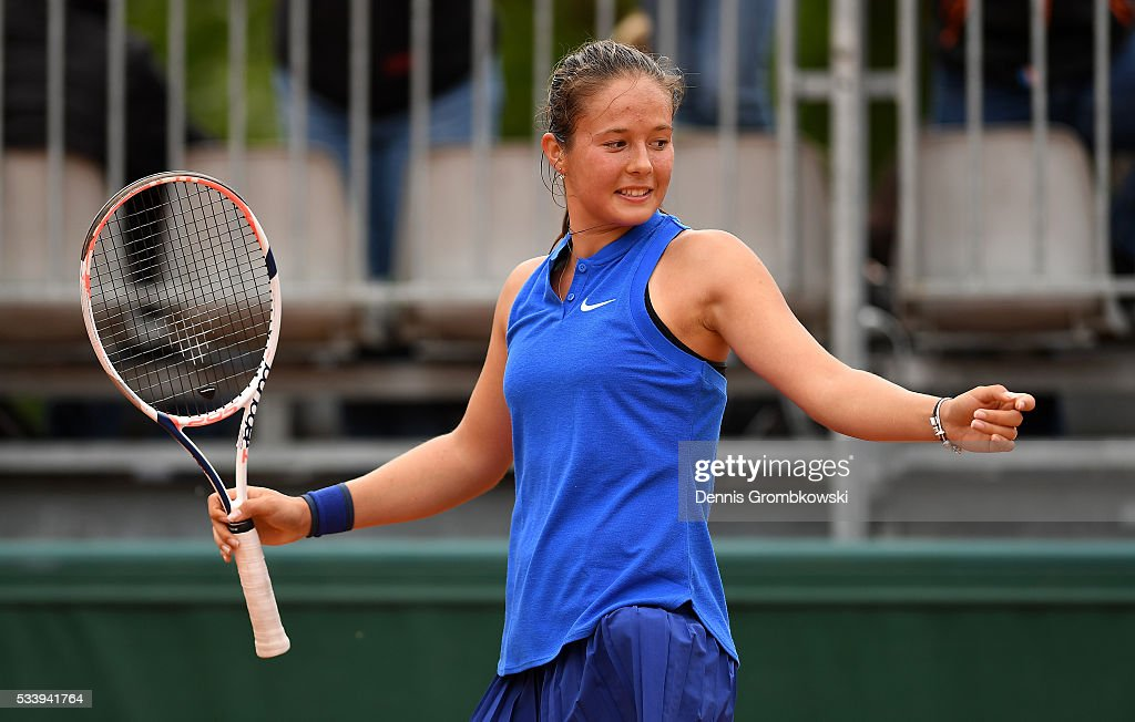 <a gi-track='captionPersonalityLinkClicked' href=/galleries/search?phrase=Daria+Kasatkina&family=editorial&specificpeople=10965238 ng-click='$event.stopPropagation()'>Daria Kasatkina</a> of Russia reacts during the Women's Singles first round match against Anna-Lena Friedsam of Germany on day three of the 2016 French Open at Roland Garros on May 24, 2016 in Paris, France.