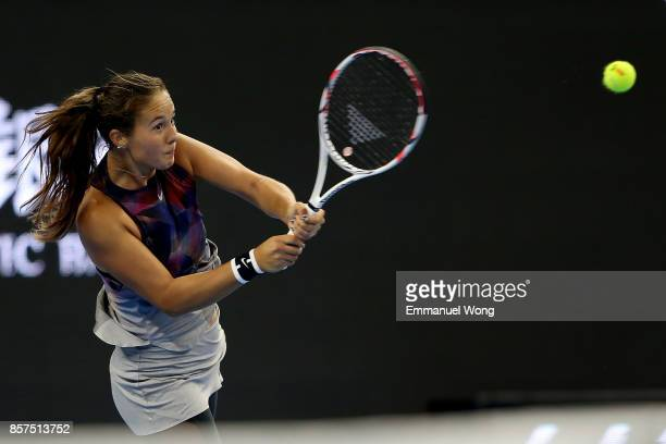 Daria Kasatkina of Russia returns a shot against Agnieszka Radwanska of Poland on day five of the 2017 China Open at the China National Tennis Centre...