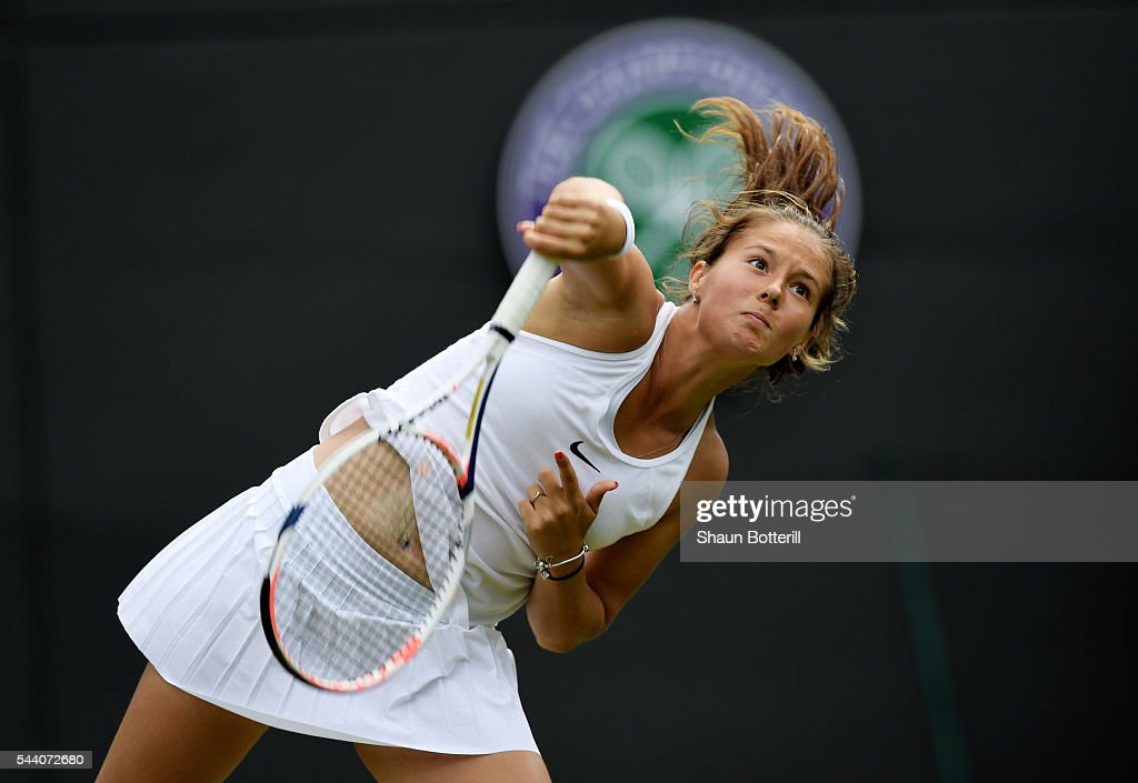 <a gi-track='captionPersonalityLinkClicked' href=/galleries/search?phrase=Daria+Kasatkina&family=editorial&specificpeople=10965238 ng-click='$event.stopPropagation()'>Daria Kasatkina</a> of Russia serves during the Ladies Singles third round match against Venus Williams of The United States on day five of the Wimbledon Lawn Tennis Championships at the All England Lawn Tennis and Croquet Club on July 1, 2016 in London, England.