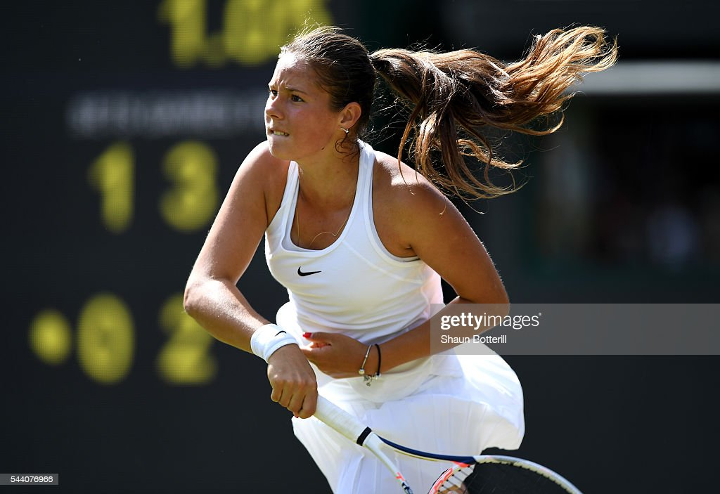 Daria Kasatkina of Russia serves during the Ladies Singles third round match against Venus Williams of The United States on day five of the Wimbledon Lawn Tennis Championships at the All England Lawn Tennis and Croquet Club on July 1, 2016 in London, England.
