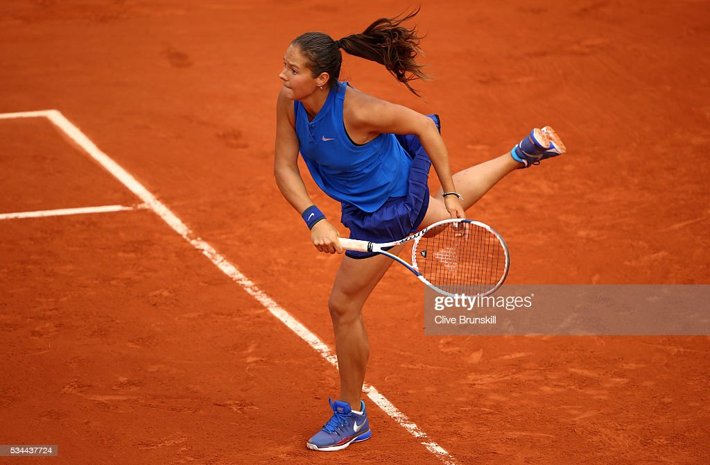 <a gi-track='captionPersonalityLinkClicked' href=/galleries/search?phrase=Daria+Kasatkina&family=editorial&specificpeople=10965238 ng-click='$event.stopPropagation()'>Daria Kasatkina</a> of Russia serves victory during the Ladies Singles second round match against Virginie Razzaro of France on day five of the 2016 French Open at Roland Garros on May 26, 2016 in Paris, France.