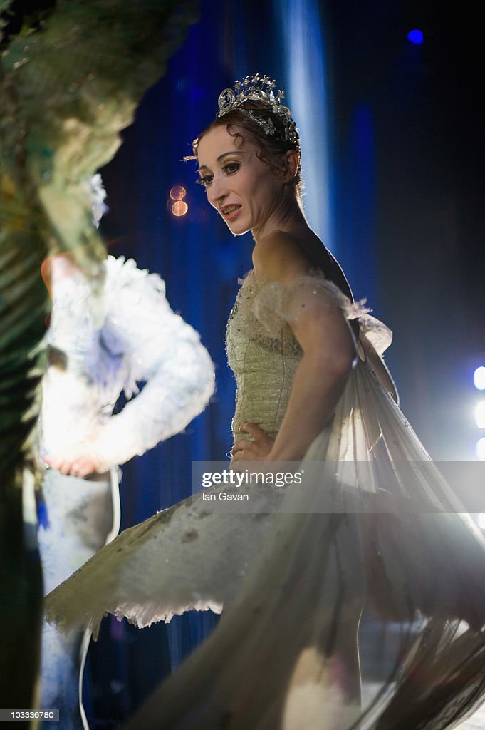 Daria Klimentova from the English National Ballet waits in the wings during the dress rehearsal of Cinderella at the Coliseum on August 10 2010 in...