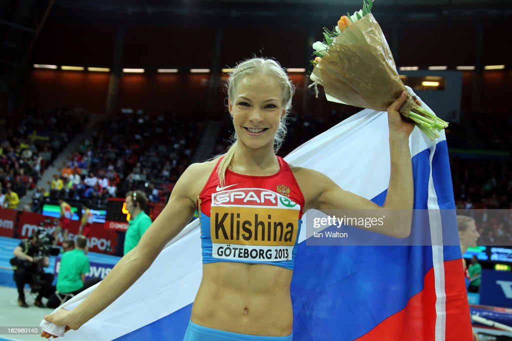 Daria Klishina of Russia celebrates winning gold in the Women's Long Jump Final during day two of the European Athletics Indoor Championships at Scandinavium on March 2, 2013 in Gothenburg, Sweden.