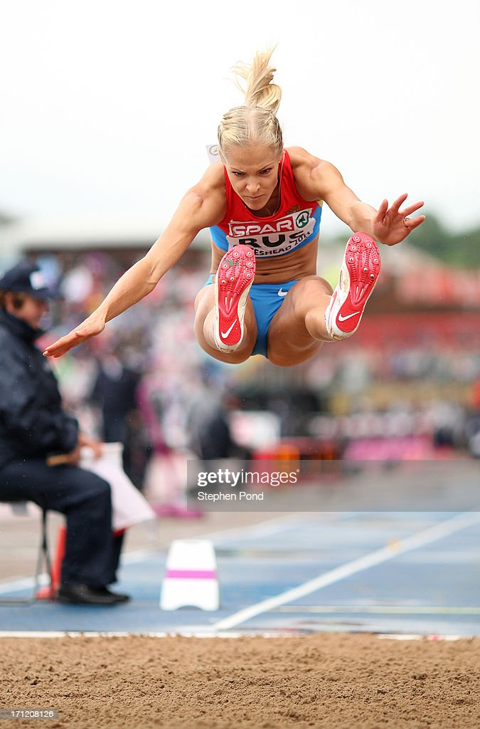 Daria Klishina of Russia competes in the womens long jump during day two of the European Athletics Team Championships at Gateshead International Stadium on June 23, 2013 in Gateshead, England.