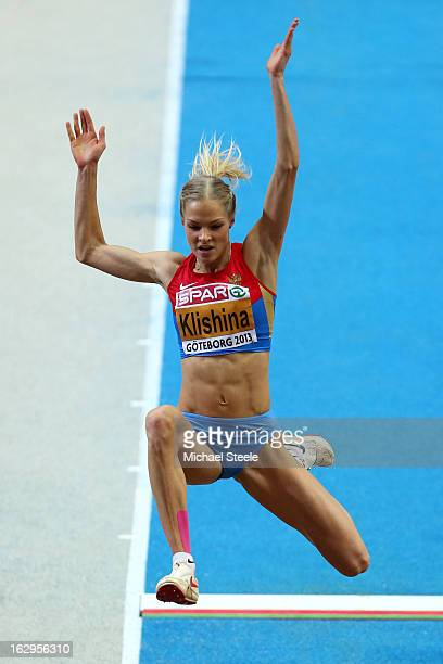 Daria Klishina of Russia competes in the Women's Long Jump Final during day two of the European Athletics Indoor Championships at Scandinavium on...