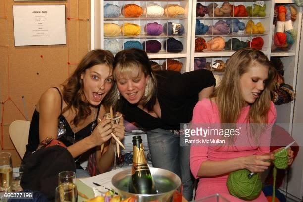 Daria Knit NY owner Miriam Maltagliati and Alexandra Richards attends IMG Models Knitting Party at Knit New York on February 5 2004 in New York City