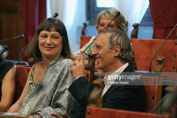 Daria Nicolodi and Dario Argento attend the wedding of Asia Argento and Michele Civetta/ gets married>> on August 27 2008 in Arezzo Italy