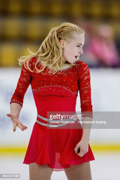 Daria Panenkova of Russia competes in the Junior Ladies Free Skating during day 2 of the Riga Cup ISU Junior Grand Prix of Figure Skating at Volvo...