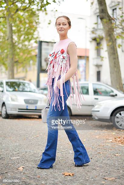 Daria Shapovalova poses wearing a Marianna Senchina top after the Marni show during the Milan Fashion Week Spring/Summer 16 on September 27 2015 in...