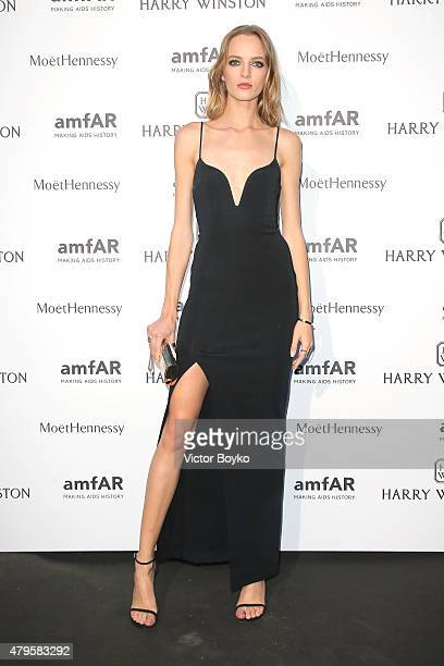 Daria Strokous attends the amfAR dinner at the Pavillon LeDoyen during the Paris Fashion Week Haute Couture on July 5 2015 in Paris France