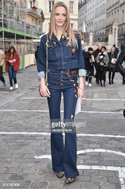 Daria Strokous is seen arriving at Sonia Rykiel Fashion show during Paris Fashion Week Womenswear Fall Winter 2016/2017 on March 7 2016 in Paris...