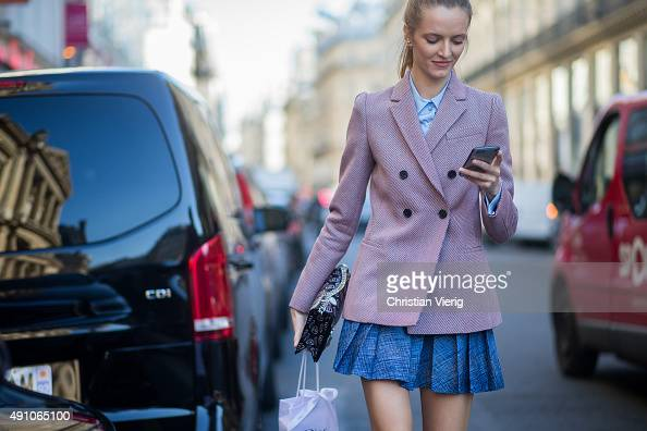 Daria Strokus wearing Dior after Dior during the Paris Fashion Week Womenswear Spring/Summer 2016 on October 2 2015 in Paris France