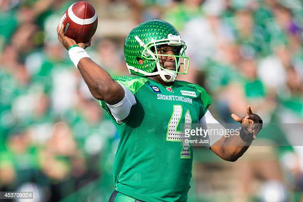 Darian Durant of the Saskatchewan Roughriders attempts a pass in a game between the Montreal Alouettes and Saskatchewan Roughriders in week 8 of the...