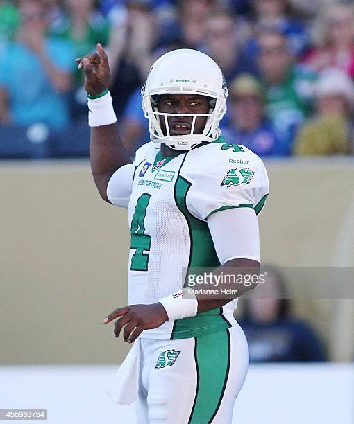 Darian Durant of the Saskatchewan Roughriders gestures in first half action in a CFL game against the Winnipeg Blue Bombers at Investors Group Field...