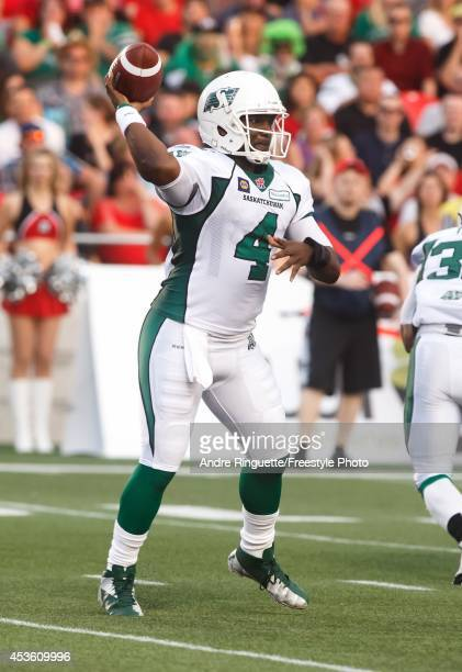 Darian Durant of the Saskatchewan Roughriders passes the ball against the Ottawa Redblacks during a CFL game at TD Place Stadium on August 2 2014 in...