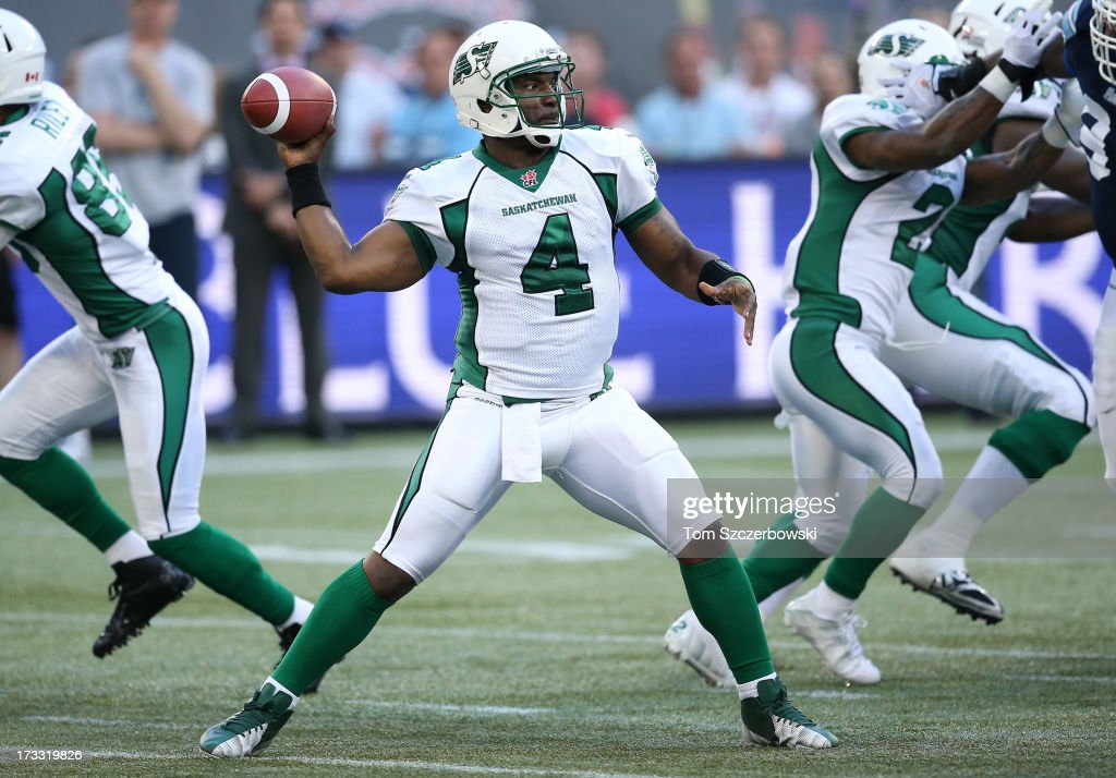 <a gi-track='captionPersonalityLinkClicked' href=/galleries/search?phrase=Darian+Durant&family=editorial&specificpeople=234847 ng-click='$event.stopPropagation()'>Darian Durant</a> #4 of the Saskatchewan Roughriders throws during CFL game action against the Toronto Argonauts on July 11, 2013 at Rogers Centre in Toronto, Ontario, Canada.