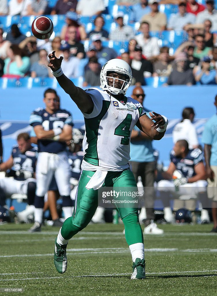 <a gi-track='captionPersonalityLinkClicked' href=/galleries/search?phrase=Darian+Durant&family=editorial&specificpeople=234847 ng-click='$event.stopPropagation()'>Darian Durant</a> #4 of the Saskatchewan Roughriders throws the ball during a CFL game against the Toronto Argonauts on July 5, 2014 at Rogers Centre in Toronto, Ontario, Canada.