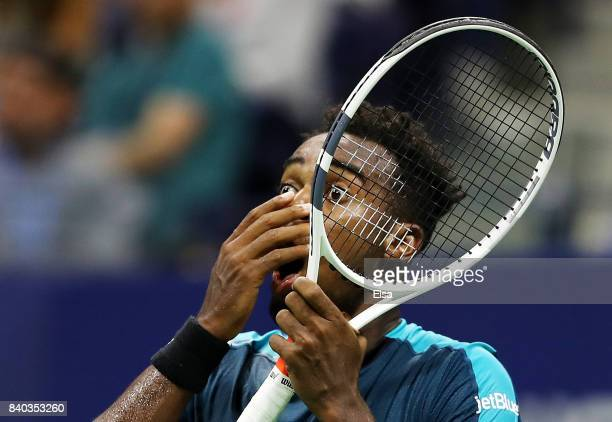 Darian King of Barbados reacts against Alexander Zverev Jr of Germany during their first round Men's Singles match on Day One of the 2017 US Open at...
