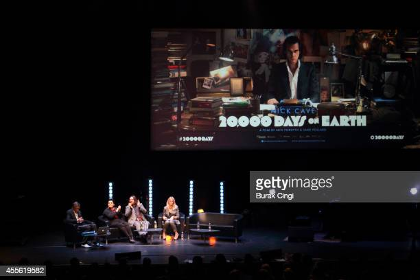 Darian Leader Jane Pollard Iain Forsyth and Edith Bowman discuss 20000 Days on Earth on stage at the gala preview of 20000 Days on Earth at Barbican...