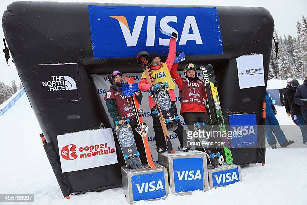 Darian Stevens of the United States in second place Dara Howell of Canada in first place and Grete Eliassen of the United States in third place take...
