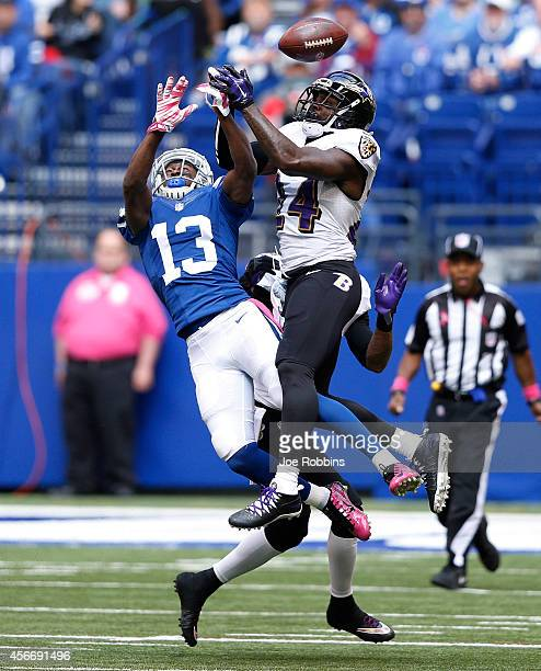 Darian Stewart of the Baltimore Ravens breaks up a pass intended for TY Hilton of the Indianapolis Colts in the first half of the game at Lucas Oil...