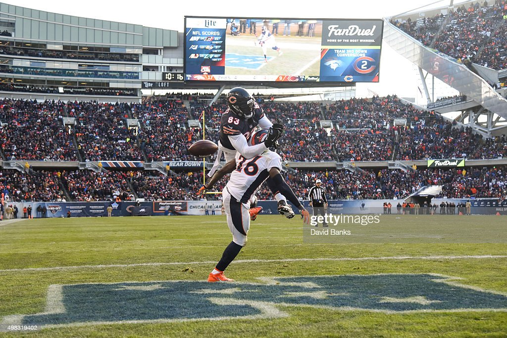 Darian Stewart #26 of the Denver Broncos breaks up a pass intended for Martellus Bennett #83 of the Chicago Bears in the fourth quarter at Soldier Field on November 22, 2015 in Chicago, Illinois.