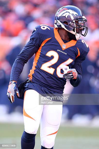 Darian Stewart of the Denver Broncos looks on during the game against the New England Patriots at Sports Authority Field At Mile High on December 18...