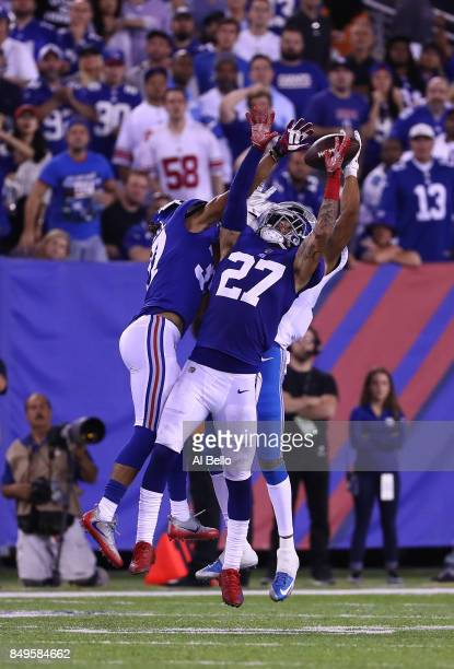 Darian Thompson of the New York Giants in action against the Detroit Lions during their game at MetLife Stadium on September 18 2017 in East...