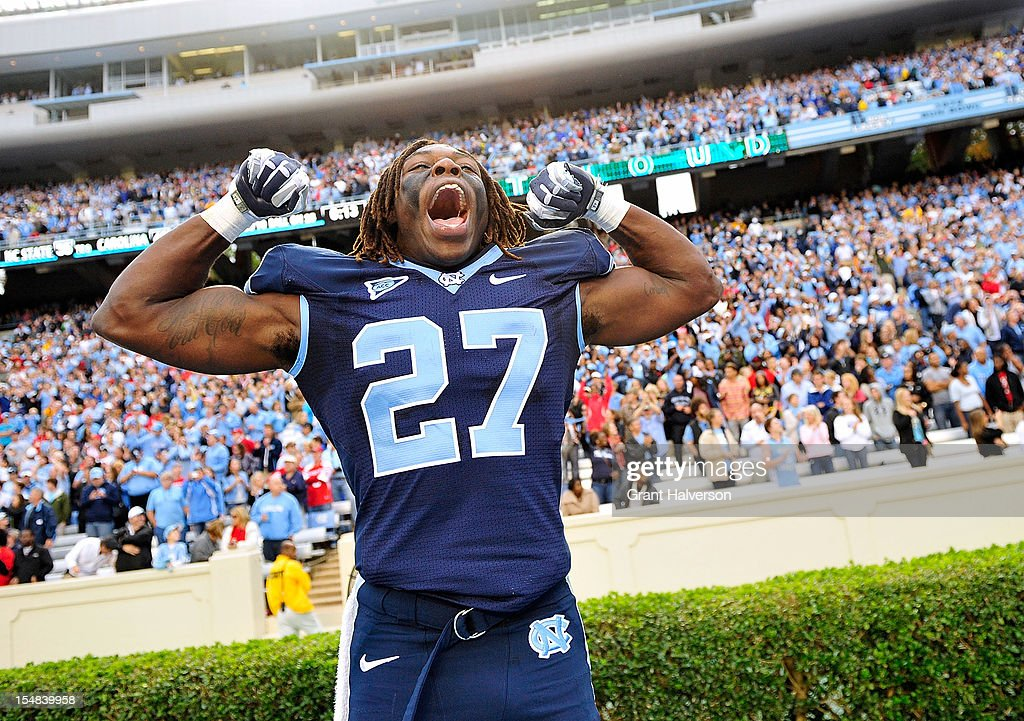Darien Rankin #27 of the North Carolina Tar Heels reacts as time expires in a win over the North Carolina State Wolfpack at Kenan Stadium on October 27, 2012 in Chapel Hill, North Carolina. North Carolina won 43-35.