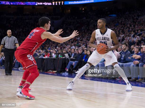Darien Williams of the St John's Red Storm controls the ball against Federico Mussini of the St John's Red Storm at the Wells Fargo Center on...
