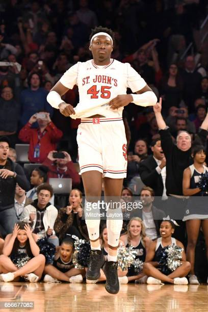 Darien Williams of the St John's Red Storm looks on during the Big East Basketball Tournament First Round game against the Georgetown Hoyas at...