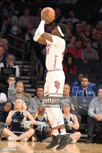 Darien Williams of the St John's Red Storm takes a foul shot during the Big East Basketball Tournament First Round game against the Georgetown Hoyas...