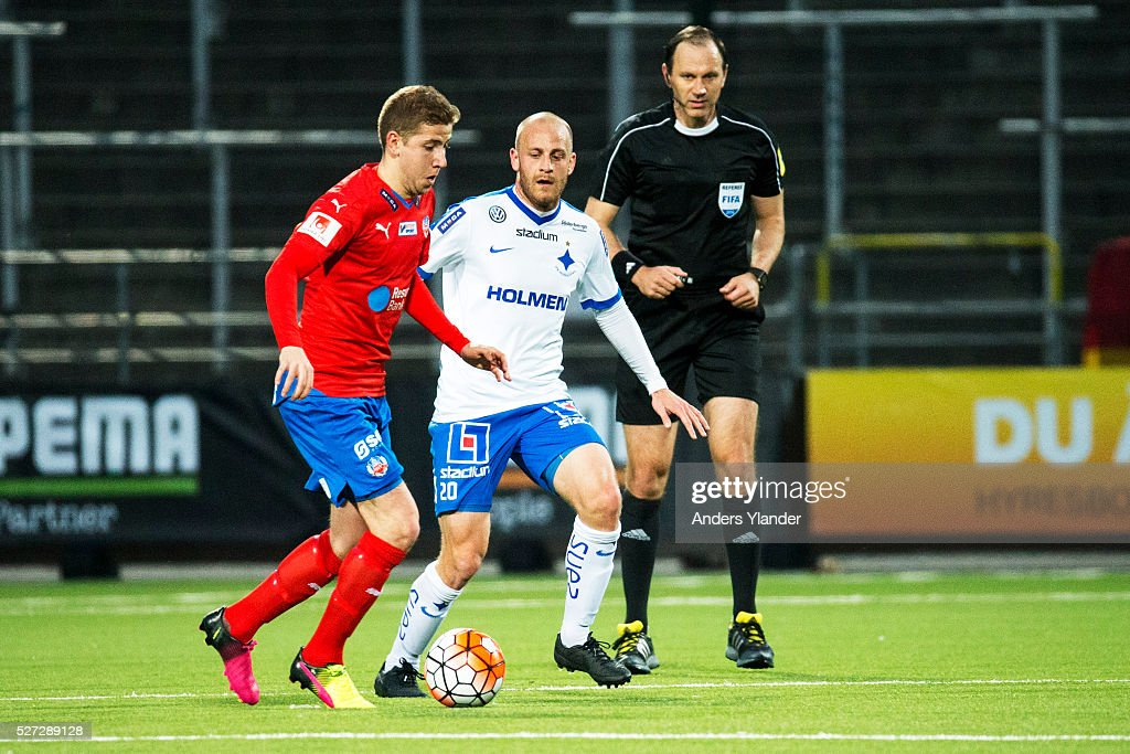 Darijan Bojanic of Helsingborgs IF and Daniel Sjolund of IFK Norrkoping competes for the ball during the Allsvenskan match between IFK Norrkoping and Helsingborgs IF at Ostgotaporten on May 2, 2016 in Norrkoping, Sweden.