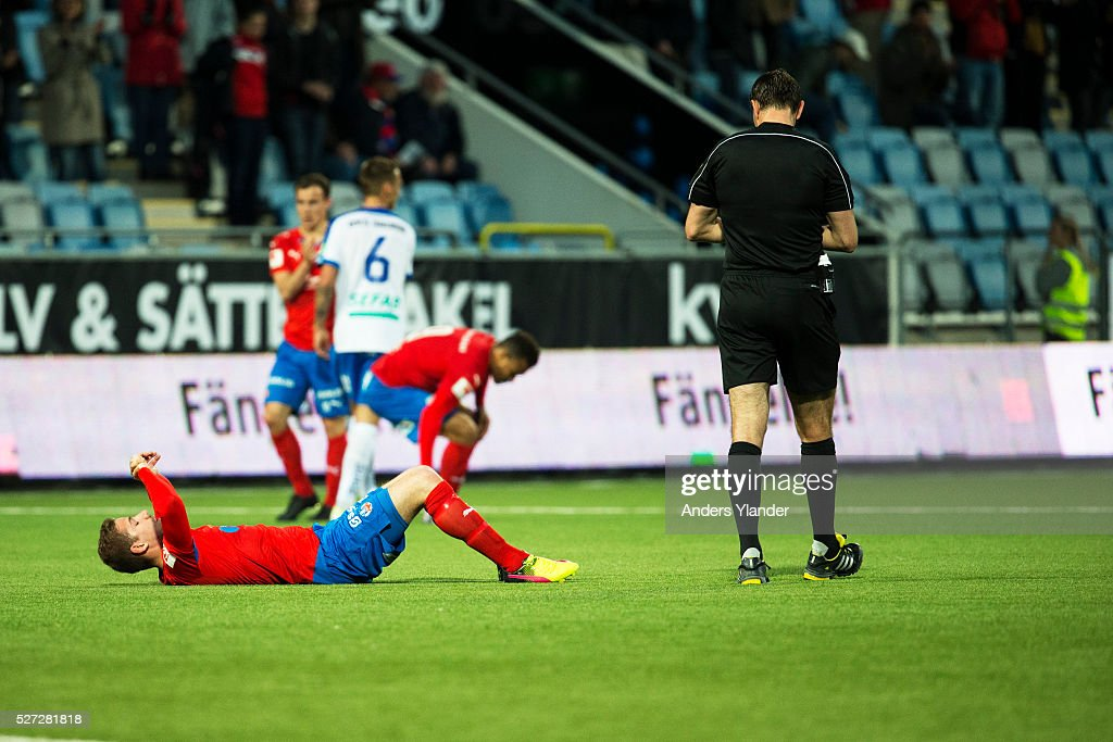 Darijan Bojanic of Helsingborgs IF is dejected after the Allsvenskan match between IFK Norrkoping and Helsingborgs IF at Ostgotaporten on May 2, 2016 in Norrkoping, Sweden.