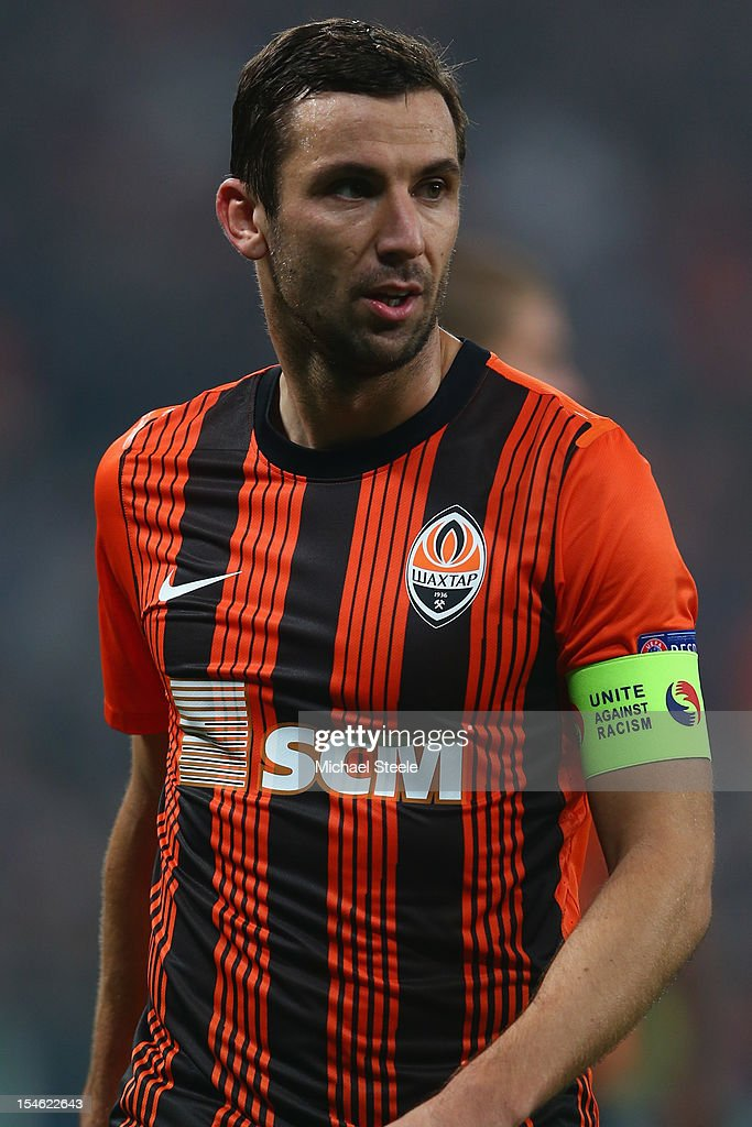 Darijo Srna captain of Shakhtar Donetsk wears a 'Unite against Racism' arm band to highlight UEFA's FARE Action Week campaign during the UEFA Champions League Group E match between Shakhtar Donetsk and Chelsea at the Donbass Arena on October 23, 2012 in Donetsk, Ukraine.