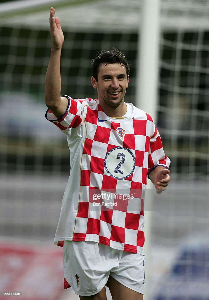 Darijo Srna of Croatia celebrates during the 2006 World Cup qualifying match between Iceland and Croatia at Laugardalsvollur Stadium on September 3, 2005, in Reykjavik, Iceland.