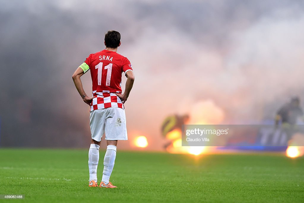 Darijo Srna of Croatia during the EURO 2016 Group H Qualifier match between Italy and Croatia at Stadio Giuseppe Meazza on November 16 2014 in Milan...