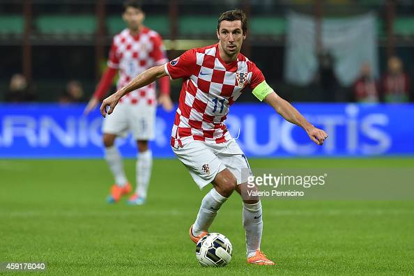 Darijo Srna of Croatia in action during the EURO 2016 Group H Qualifier match between Italy and Croatia at Stadio Giuseppe Meazza on November 16 2014...