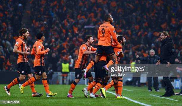 Darijo Srna of Donetsk celebrates after scoring his teams first goal during the UEFA Champions League Round of 16 first leg match between Shakhtar...